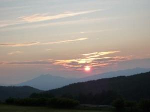 くずまき高原牧場の夕日