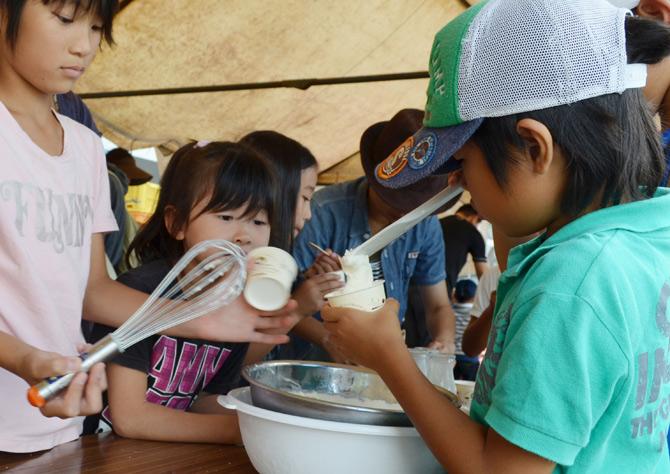 くずまき高原牧場 アイスクリーム作り体験